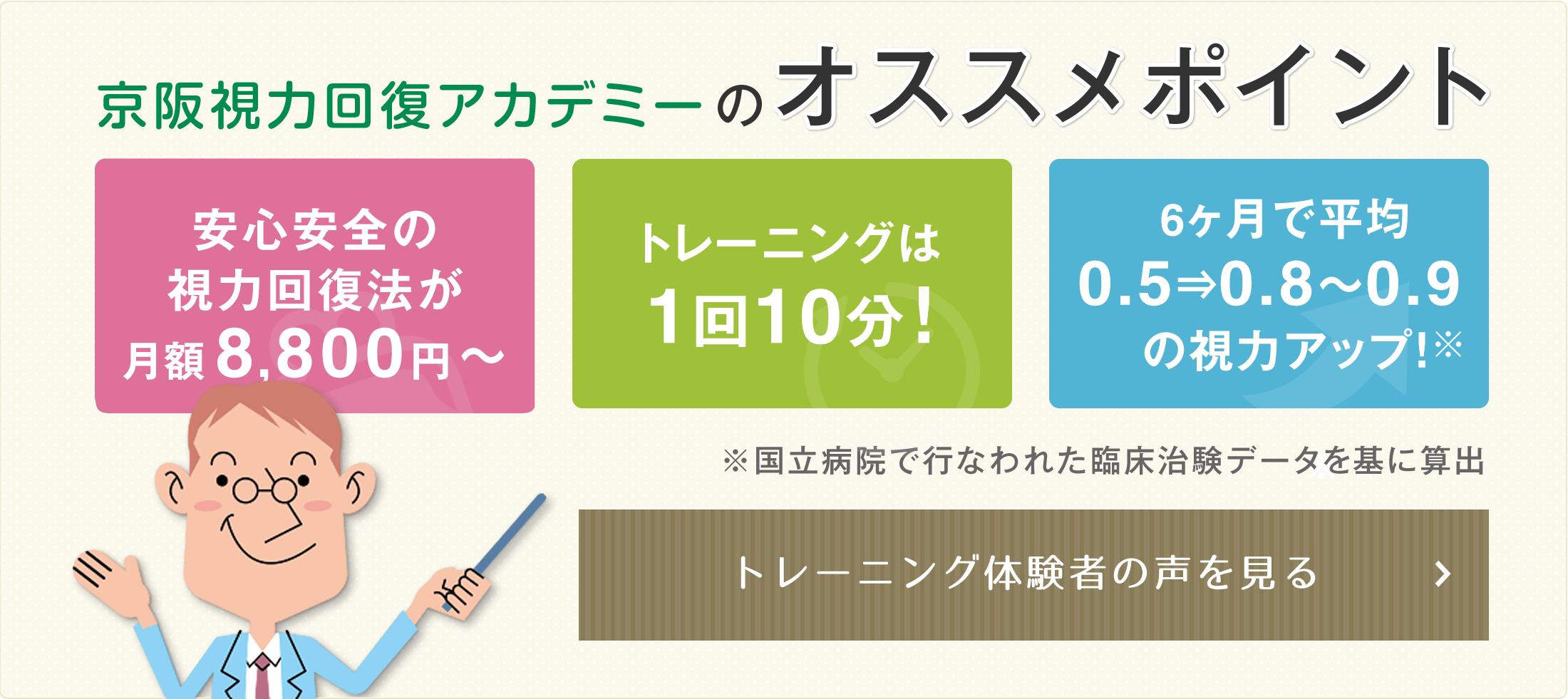 京阪視力回復アカデミーのオススメポイント 月額8,640円 トレーニングは1回10分 視力アップ トレーニング体験者の声を見るグ