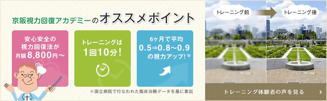 京阪視力回復アカデミーのオススメポイント 月額8,640円 トレーニングは1回10分 視力アップ トレーニング体験者の声を見る